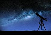 Telescope watching the wilky way — Stock Photo