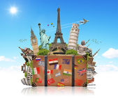 Illustration of a suitcase full of famous monument — Stock Photo