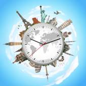 Illustration of a clock with famous monuments — Stock Photo