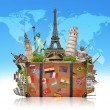 Illustration of a suitcase full of famous monument — Stockfoto #75554567