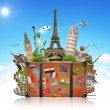 Illustration of a suitcase full of famous monument — Stockfoto #77572372