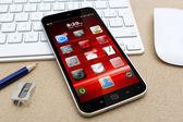 Werkplek met mobiele telefoon — Stockfoto