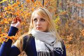 Mujer joven en el hermoso parque de otoño, otoño de concepto — Foto de Stock