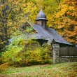Wooden church. Ukrainian Museum of Life and Architecture. Autumn — Stock Photo #54523125