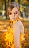 Portrait of a beautiful young woman in autumn leaves — Stock Photo