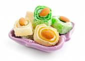 Turkish delight on a saucer isolated on white background — Stock Photo