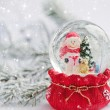 A snow globe with snowman on background spruce branches with snow — Stock Photo #59976143