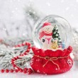 A snow globe with snowman on background spruce branches with sno — Stock Photo #59976147