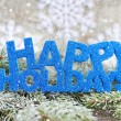 Inscription of happy holidays with spruce branches with frost — Stock Photo #60475031