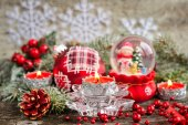 Christmas composition with candles — Stock Photo