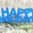 Inscription of happy holidays with spruce branches with frost — Stock Photo #60885669
