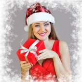 Portrait of beautiful sexy girl with Christmas gift — Stock Photo