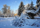 Günbatımı üzerinde kış manzarası — Stok fotoğraf