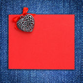 Decorative hearts and a blank form for greeting jeans background — Φωτογραφία Αρχείου