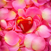 Decorative heart on a pink rose petals, romantic background — Stock Photo