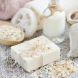 Handmade soap with oatmeal and milk — Stock Photo #68286533