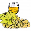 Drawn grapes and glass of wine — Stock Photo #62668937
