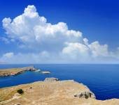 Saint Paul Bay från Lindos Rhodes island — Stockfoto