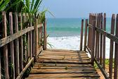 Wooden platform beside tropical beach — Stock Photo