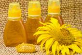 Honey in jar and sunflower — Stock Photo