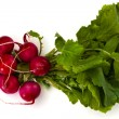 Bunch of fresh red radishes with green tops isolated on white background — Stock Photo #69946281