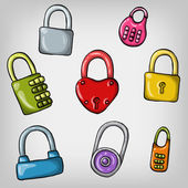 Hand drawn colorful padlocks — Stock Vector