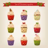 Set of cute Christmas cupcakes — Stock Vector