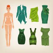 Dress up paper doll — Stok Vektör