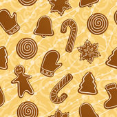 Christmas gingerbread cookies pattern — Stock Vector
