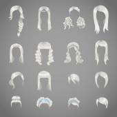 Set of sixteen hairstyles for women — Stock vektor