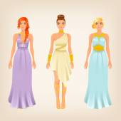 Females in greek styled dresses — Stock Vector