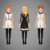 Females in different dresses — Stock Vector