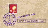 Valentine card with stamp — Stock Vector