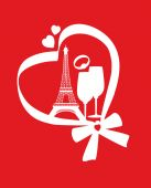 Red valentine card with Eiffel Tower — Stock Vector