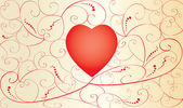 Valentine card with red heart — Stock vektor