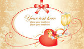 Valentine card with ring and flowers — Stockvector