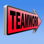 Teamwork road sign — Stock Photo #58743855
