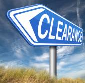 Clearance sign — Stockfoto
