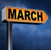 下一个 3 月标志 — 图库照片