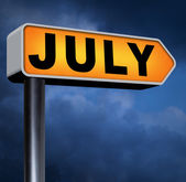 Next july sign — Stockfoto