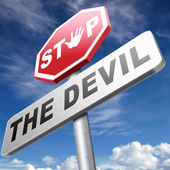Stop the devil text — Stock Photo
