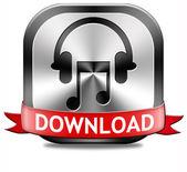 音楽ダウンロード ボタン — ストック写真