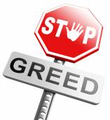 Stop greed sign — Stock Photo