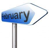 Signo de carretera de febrero — Foto de Stock
