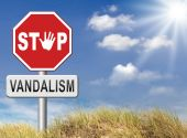 Stop vandalism sign — Stock Photo