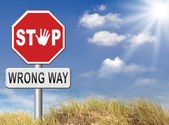 Wrong way stop sign — Stock Photo