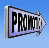 Promotions in job sign — Stock Photo