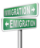 Immigration or emigration sign — Stock Photo