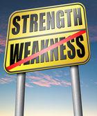 Strength versus weakness sign — Stock Photo
