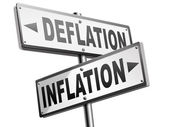 Inflation deflation road signs — Stock Photo